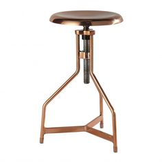 SEAN copper effect metal stool x Adjustable seat copper-effect stool, perfectly suited to an industrial themed interior.
