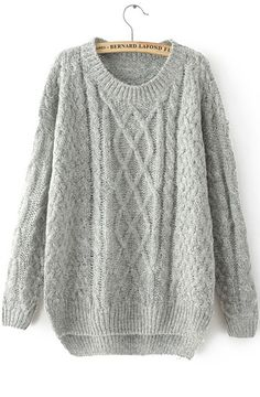 Grey Long Sleeve Cable Knit Loose Sweater -SheIn(Sheinside) Mobile Site