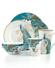222 Fifth Dinnerware Eliza Teal & Peacock Garden Mix & Match Collection