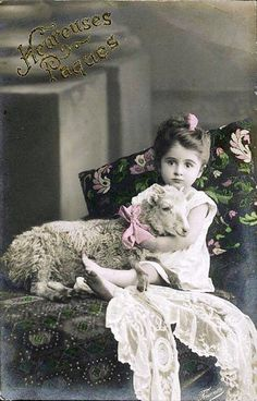 Vintage Postcard ~ Little Girl w/Lamb | Flickr - Photo Sharing!
