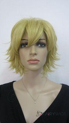 Cheap African American Wigs Capless Short Synthetic Hair Blonde Wavy Cheap Costume Wigs