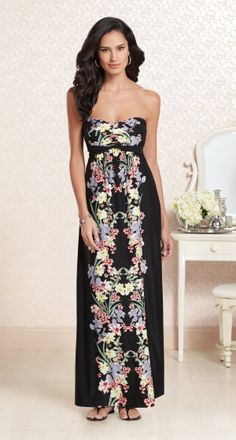 Brilliant Bouquet: Soma Faye Maxi Dress in Mirrored Floral Print #LoveSoma #SomaIntimates