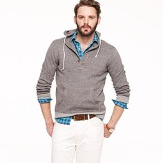 Marled cotton hooded henley