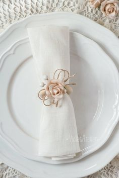 4 ronds de serviette Rose mariage Vintage ronds de serviette | Etsy