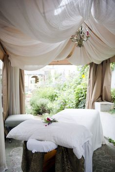 Elegance Boutique Spa in Manhattan Beach || Flowing drape design || Day spa || massage therapy room || esthetician room || aesthetician room || esthetics || skin care || body waxing || hair removal || body scrub || body treatment room