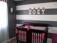 Crib Bedding Set Fuchsia And Gray Chevron on Etsy, $340.00