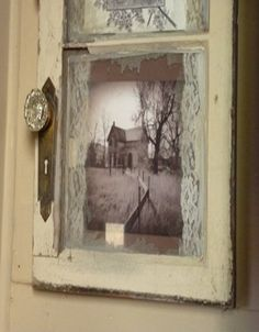 Old Farm House Door Window Made Into Picture Frame