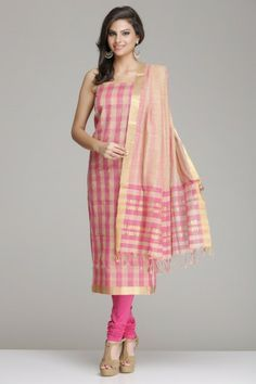 Pretty Pink And Beige Checkered Mangalagiri Cotton Unstitched Suit With Gold Zari Stripes & Border