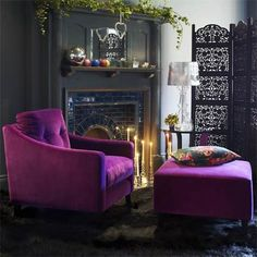 Dream Chair and Dream Footstool from Graham & Green Co., in purple velvet.