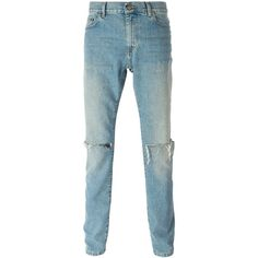 Saint Laurent distressed slim jeans Vitkac (83340 RSD) ❤ liked on Polyvore featuring jeans, destruction jeans, ripped jeans, yves saint laurent jeans, destructed jeans and distressing jeans