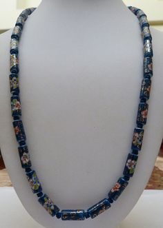 """26 1/4"""" CHINESE HAND KNOT BLUE CLOISONNE FLOWERS PORCELAIN BARREL BEADS NECKLACE"""