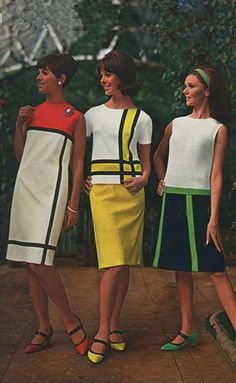 In the mid-60s, women's dresses, and even mens shirts, were designed with geometric shapes and thick stripes. The shapes and lines separated areas of bright colors. Straps on high-heels also became popular.