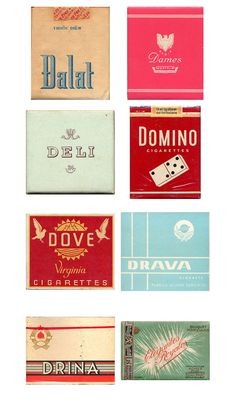 typography - vintage cigarette packaging