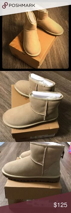UGG Classic Mini Size 5 San for Women. New in box! New in box Women's Classic Mini UGGs. Smoke free, dog friendly home. Only removed from box twice. Ugg Snow Boots, Bootie Boots, Ankle Boots, Ugg Classic Mini, Ugg Shoes, Dog Friends, Uggs, Smoke Free, Booty