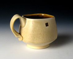 Square Coffee Mug with subtle Satin Tan by nickdevriespottery,