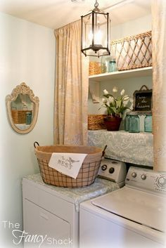 What a pretty laundry area. http://thefancyshack.blogspot.com/ Laundry Room Makeover