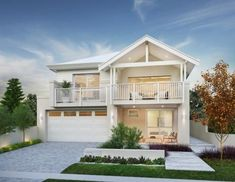 25 Fabulous Two-storey House Designs For Romantic Young Families Two Storey House Plans, 2 Storey House Design, House Front Design, Style At Home, Bungalow Haus Design, Weatherboard House, Hamptons Style Homes, Storey Homes, Facade House