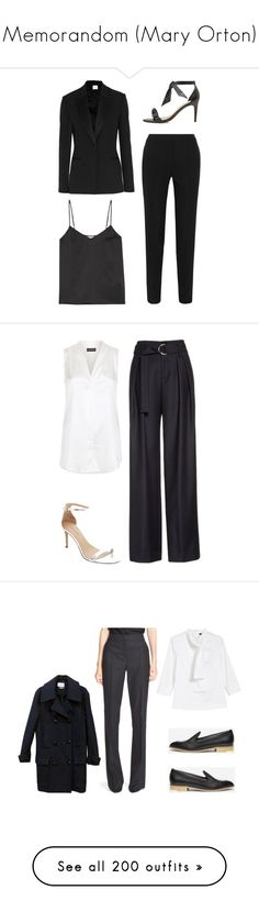 """Memorandom (Mary Orton)"" by rudywade ❤ liked on Polyvore featuring PALLAS, Equipment, Alexandre Birman, Armani Collezioni, Frame, Banana Republic, pants, blue trousers, blue neck tie and blue pants"