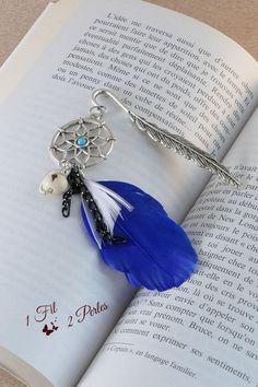 Marque Page Bijou Attrape Rêves  Plumes Bleue Perle Graine Acai Wire Wrapping, Idée Cadeau Noel Amateur Lecture Livre Dreamcatcher Ethnique