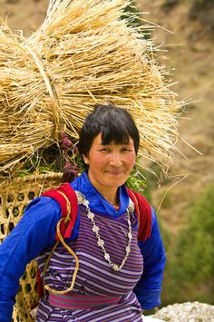 Woman at work . Bhutan