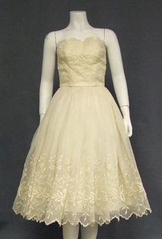 50's ivory tea length embroidered floral dress $180