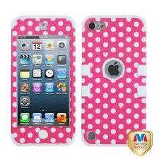 Apple iPod Touch 5th Gen Hard Hybrid Case Pink Polka Dot / White Skin ...