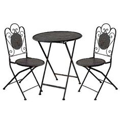 Metal Bistro Table & Chairs Set Black Set Of 3 by FantasticDecor. $149.99. Buy multiple items, save on shipping. outdoor and indoor use. metal. The Three Piece Metal Bistro Table Chair Set will be a beautiful addition to your patio, balcony or outdoor entertainment area. This set is the perfect for any small space or to accent a larger space. Set includes one table and two chairs. Each piece folds up for easy storage when not in use. Round metal table and two chairs provide...