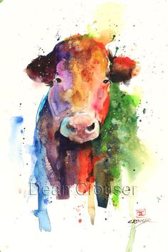 HAPPY COW giclee print from an original watercolor painting by Dean Crouser. This print is in portrait orientation (taller than wide). Watercolor Sketch, Watercolor Print, Watercolor Paintings, Watercolor Paper, Watercolor Ideas, Cow Pictures, Pictures To Paint, Animal Paintings, Animal Drawings