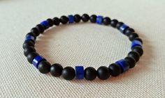 Black Onyx Bracelet Natural Lapis Lazuli Bracelet by RocksByVan