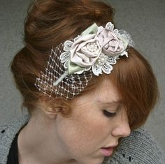 headbands for weddings, Rolled rose headband in pink and ivory with netting by BeSomethingNew on Etsy https://www.etsy.com/listing/60996937/headbands-for-weddings-rolled-rose