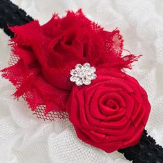 Christmas/ Holiday Headband Red and Black flower by JAGDESIGNS27, $10.99