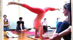 Kathryn Budig Yoga Challenge Pose: Splits in Forearm Balance