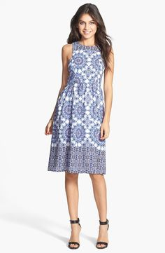 Everly 'Holland' Tile Print Midi Dress (Juniors) | Nordstrom