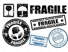 Buy Fragile stamps by roxanabalint on GraphicRiver. Abstract grunge fragile signs and stamps,vector illustration Box Design, Design Art, Graphic Design, Gravure Laser, Tape Art, Vintage Packaging, Scrapbooking, Vintage Box, Printable Stickers