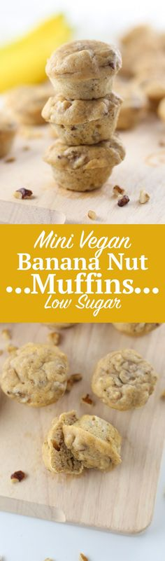 Mini Vegan Banana Nut Muffins {Low Sugar Recipe}. Delicious mini vegan muffin recipe made with bananas, walnuts, whole wheat flour and other plant-based ingredients. Click through for the full recipe and shop the specialty ingredient list!