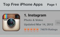 Instagram Rockets to No. 1 in App Store in Wake of Facebook Deal...4/11/12...from Mashable