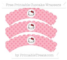 Free Pastel Pink Polka Dot  Hello Kitty Scalloped Cupcake Wrappers