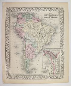 South America Map Original 1871 Mitchell Map, Latin America Decor Gift, Vintage Art Map from History Gift for Couple, Pastel Map available from OldMapsandPrints on Etsy South America Map, Latin America, Central America, Vintage Wall Art, Vintage World Maps, Art Antique, 1st Anniversary Gifts, Wall Maps, Couple