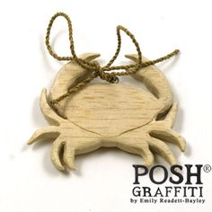 Wooden Crab on a String Natural 8cm - Posh Graffiti