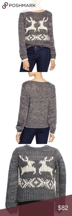 Wool Blend Dancer Prancer Sweater When winter winds start nipping at your nose, you'll be happy to slip into this chic-and-boxy pullover sweater made in a chunky knit with plenty of homespun charm. A couple of reindeer friends and a Norwegian-inspired motif seal the deal on this fireside essential. It has a ribbed crew neck, long sleeves with ribbed cuffs, and straight ribbed hem.  Material: 56% acrylic, 35% wool, 9% cotton. Cleaning: Hand Wash Color: Gray Combo Size: Small Measurements…