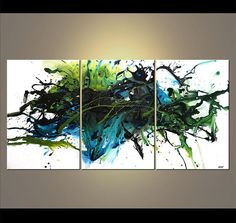 Modern Original Acrylic Painting Teal Green White by OsnatFineArt, $1399.00