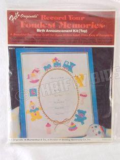 Vintage Felt Originals K8011 Toys Birth Announcement Craft Kit 10+ Blumenthal #BBlumenthal