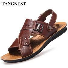 30b53fe25bc79d Tangnest Men Sandals 2017 Summer New Men Beach Slippers Pu Leather Slip On  Sandals For Man Casual Beach Shoes Size