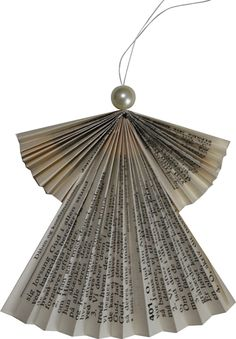 Christmas | Xmas | Jul | Noel. Natural Decoration. Ornaments. Angel. Pleated. Recycled Hymnal Paper with gold rim.