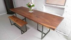 New rustic wood dining table with bench at temasistemi.net