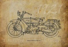 HARLEY DAVIDSON WJ Sport 1921 Based on my Original by drawspots, $42.00