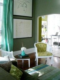 Aqua and olive palette - what to do with olive gray green walls