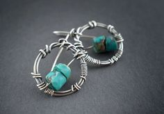 Raw Turquoise Stone Earrings • Sterling Silver • Oxidized Silver • Wire Wrapped • Rough • Rustic • Tribal • Fine Jewelry • Circle Earrings by entre2et7 on Etsy