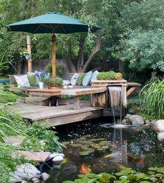 20 Diy Water Pond Ideas – Diy Water Gardens For Backyard Designs – Farmhouse Room Backyard Water Feature, Ponds Backyard, Backyard Patio, Backyard Landscaping, Landscaping Ideas, Koi Ponds, Backyard Ideas, Diy Water Feature, Backyard Seating