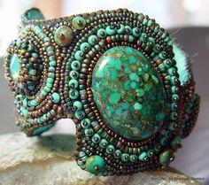 Shades of Turquoise Bead Embroidery Cuff Bracelet - 4uidzne